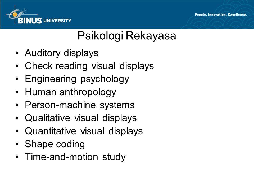 Psikologi Rekayasa Auditory displays Check reading visual displays Engineering psychology Human anthropology Person-machine systems Qualitative visual