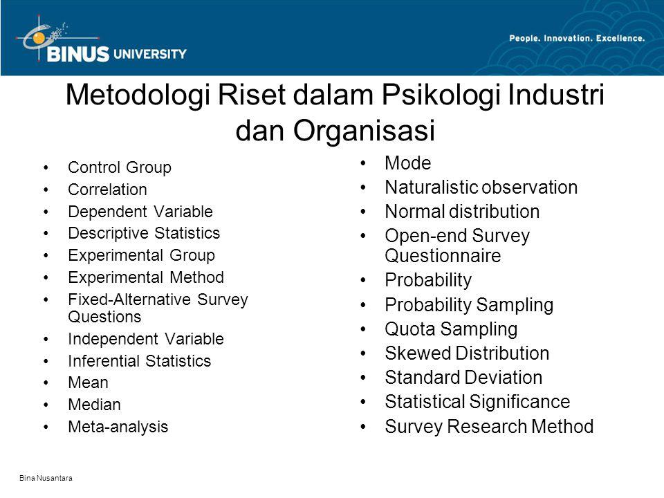 Metodologi Riset dalam Psikologi Industri dan Organisasi Bina Nusantara Control Group Correlation Dependent Variable Descriptive Statistics Experiment