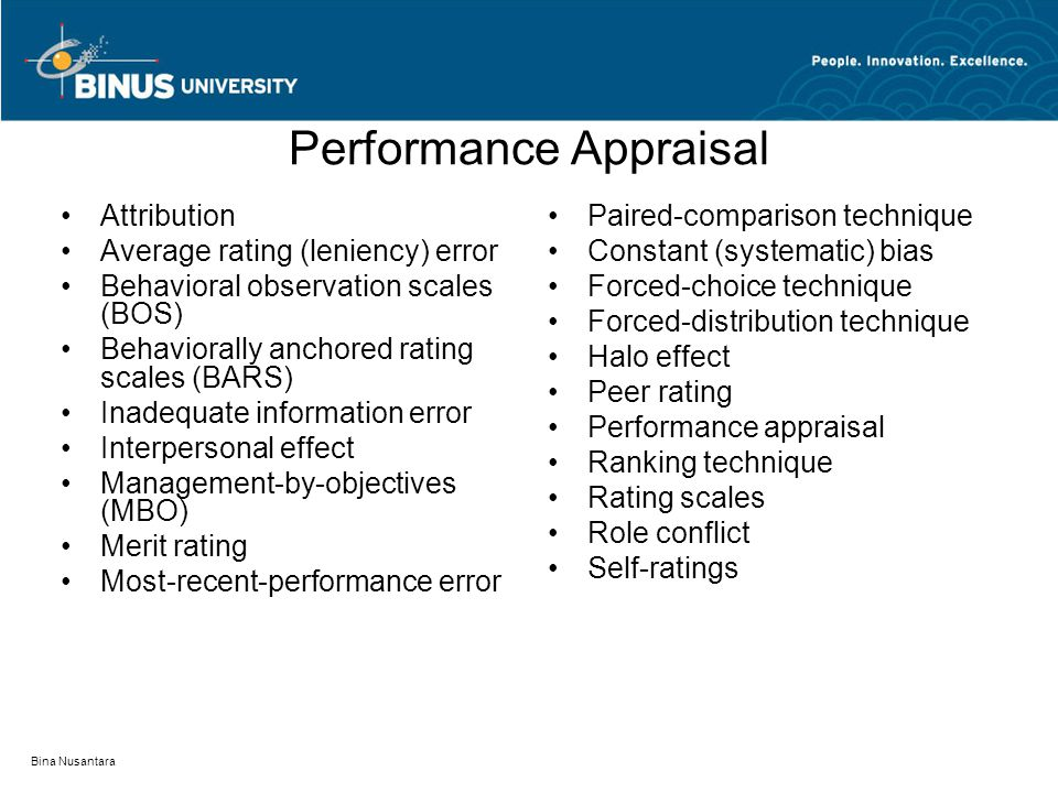 Performance Appraisal Attribution Average rating (leniency) error Behavioral observation scales (BOS) Behaviorally anchored rating scales (BARS) Inade