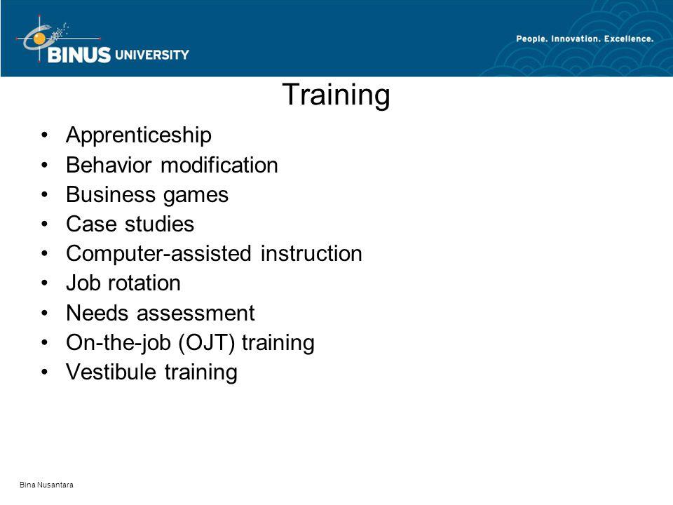 Training Apprenticeship Behavior modification Business games Case studies Computer-assisted instruction Job rotation Needs assessment On-the-job (OJT)