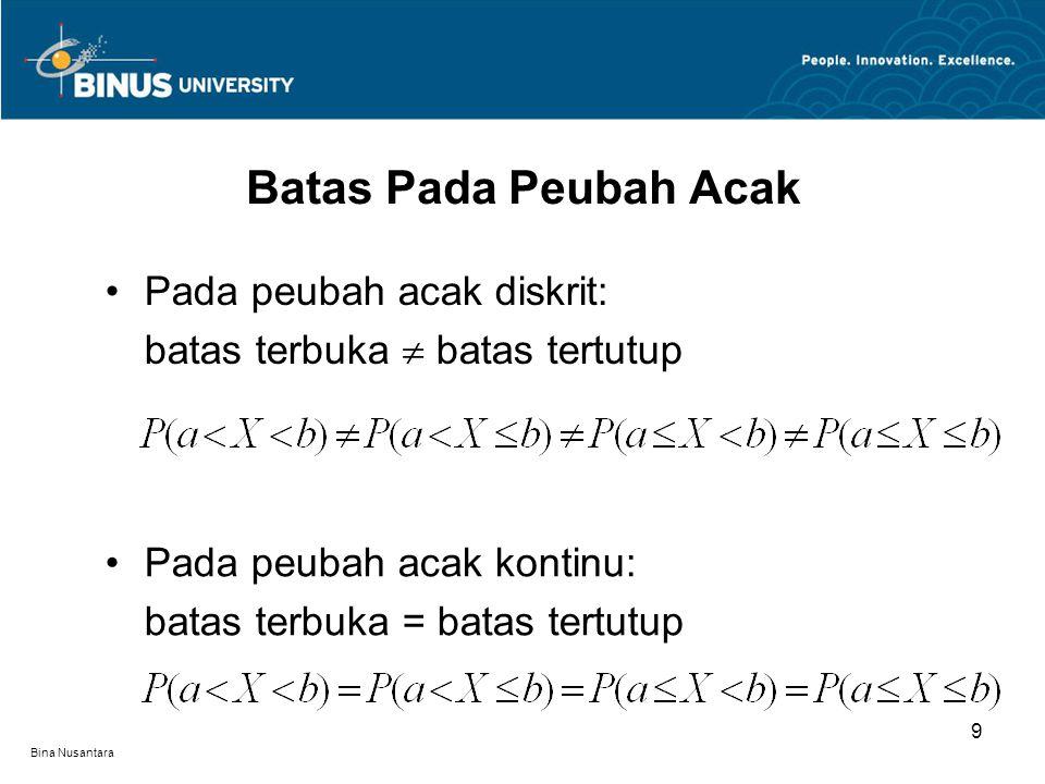 Bina Nusantara Batas Pada Peubah Acak 9 Pada peubah acak diskrit: batas terbuka  batas tertutup Pada peubah acak kontinu: batas terbuka = batas tertutup