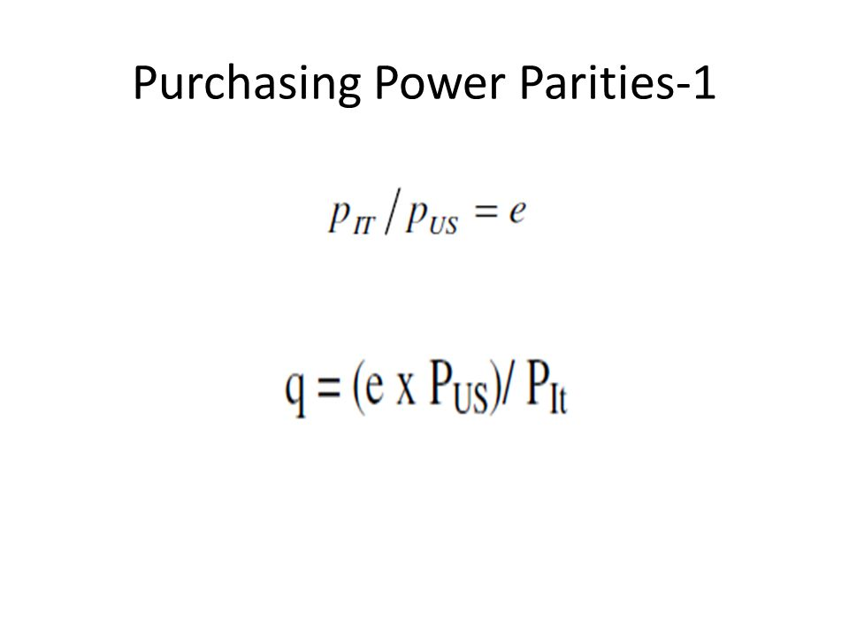 Purchasing Power Parities-1