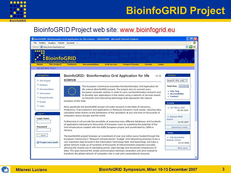 Milanesi Luciano BioinfoGRID Symposium, Milan 10-13 December 2007 3 BioinfoGRID Project www.bioinfogrid.eu BioinfoGRID Project web site: www.bioinfogrid.eu