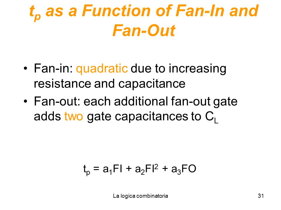 La logica combinatoria31 t p as a Function of Fan-In and Fan-Out Fan-in: quadratic due to increasing resistance and capacitance Fan-out: each addition