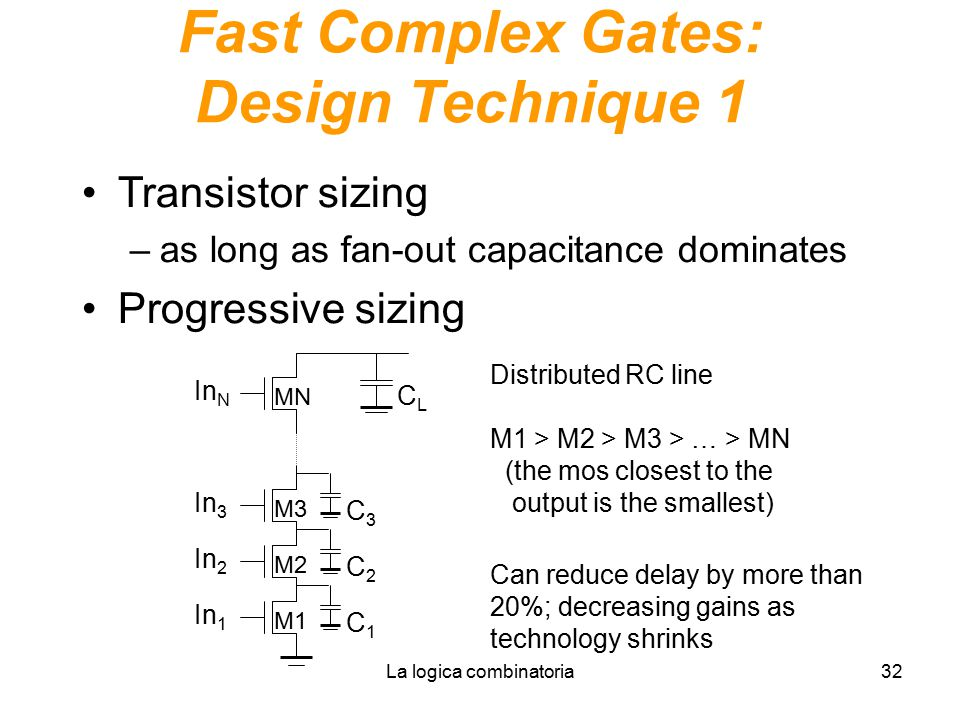 La logica combinatoria32 Fast Complex Gates: Design Technique 1 Transistor sizing –as long as fan-out capacitance dominates Progressive sizing In N CL