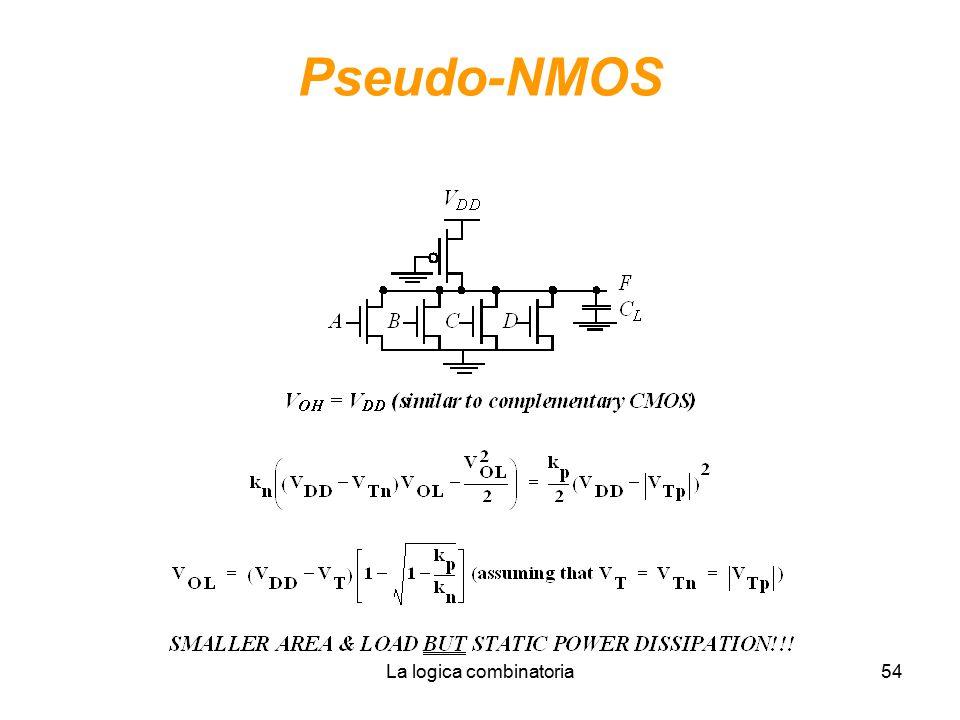 La logica combinatoria54 Pseudo-NMOS
