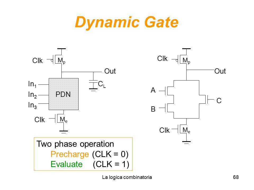 La logica combinatoria68 Dynamic Gate In 1 In 2 PDN In 3 MeMe MpMp Clk Out CLCL Clk A B C MpMp MeMe Two phase operation Precharge (CLK = 0) Evaluate (CLK = 1)