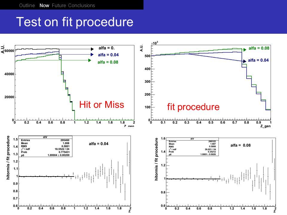 Outline Now Future Conclusions Ponza 05 June 2008 Test on fit procedure Hit or Miss fit procedure
