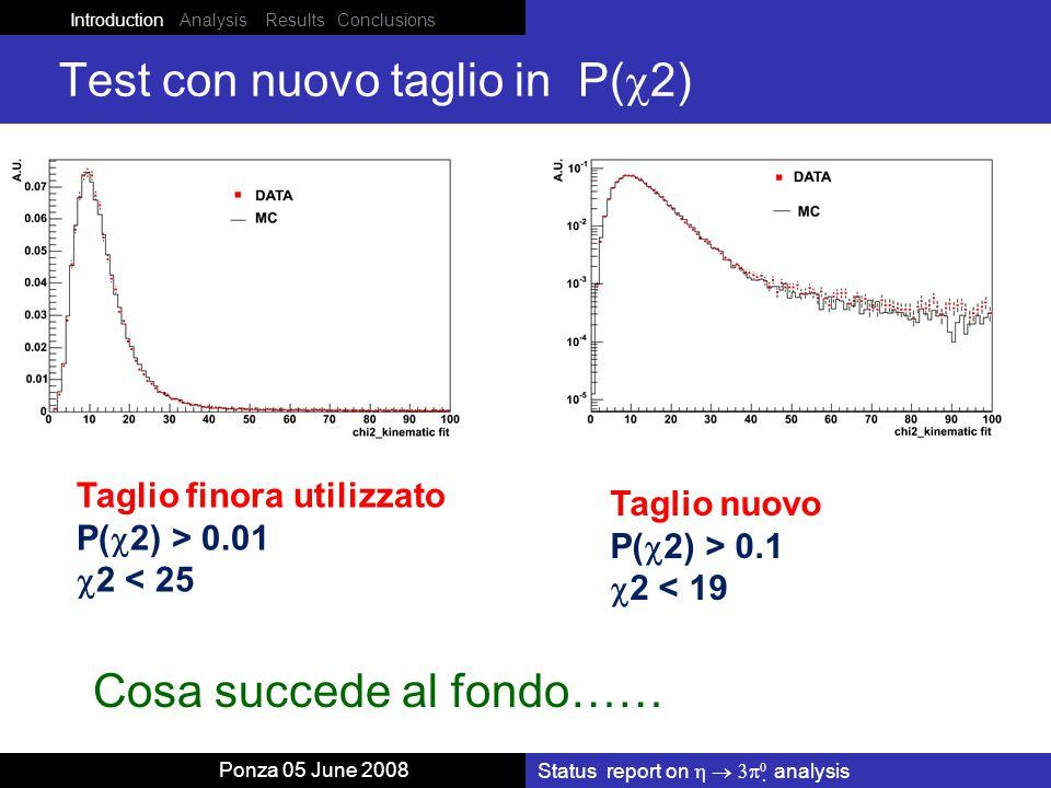 Introduction Analysis Results Conclusions Ponza 05 June 2008 Test con nuovo taglio in P(  2) Status report on    analysis Taglio finora utilizzato P(  2) > 0.01  2 < 25 Taglio nuovo P(  2) > 0.1  2 < 19 Cosa succede al fondo……