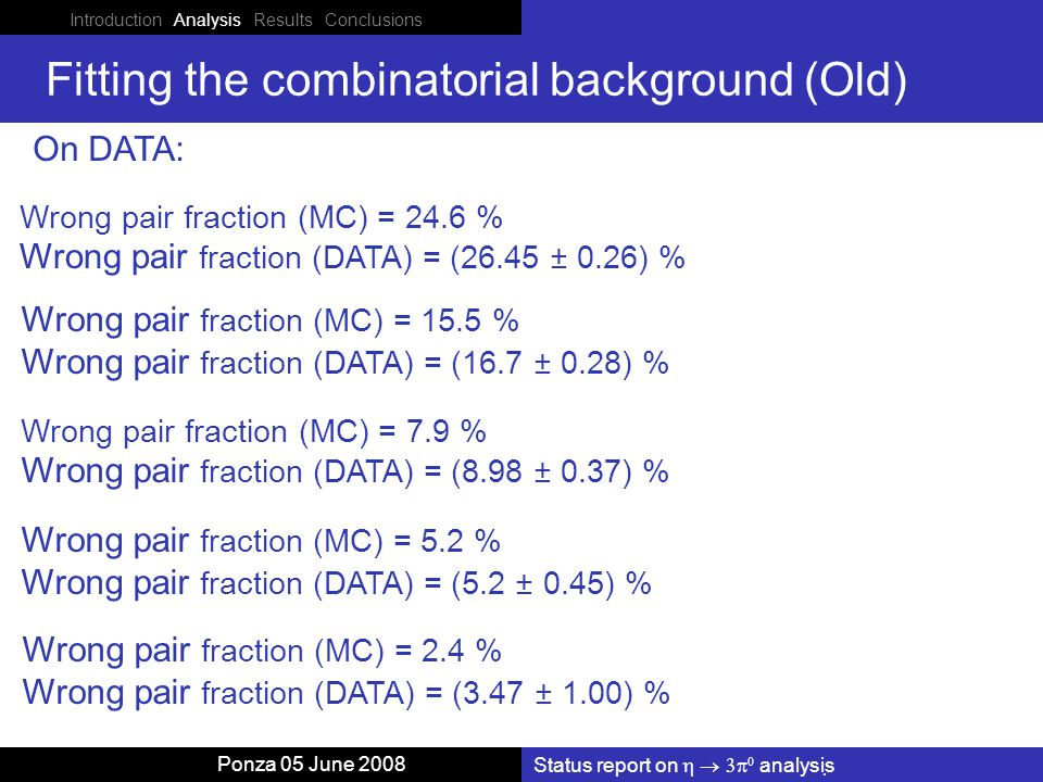 Status report on    analysis Ponza 05 June 2008 Fitting the combinatorial background (Old) On DATA: Wrong pair fraction (MC) = 15.5 % Wrong pair fraction (DATA) = (16.7 ± 0.28) % Wrong pair fraction (MC) = 7.9 % Wrong pair fraction (DATA) = (8.98 ± 0.37) % Wrong pair fraction (MC) = 5.2 % Wrong pair fraction (DATA) = (5.2 ± 0.45) % Wrong pair fraction (MC) = 2.4 % Wrong pair fraction (DATA) = (3.47 ± 1.00) % Wrong pair fraction (MC) = 24.6 % Wrong pair fraction (DATA) = (26.45 ± 0.26) %
