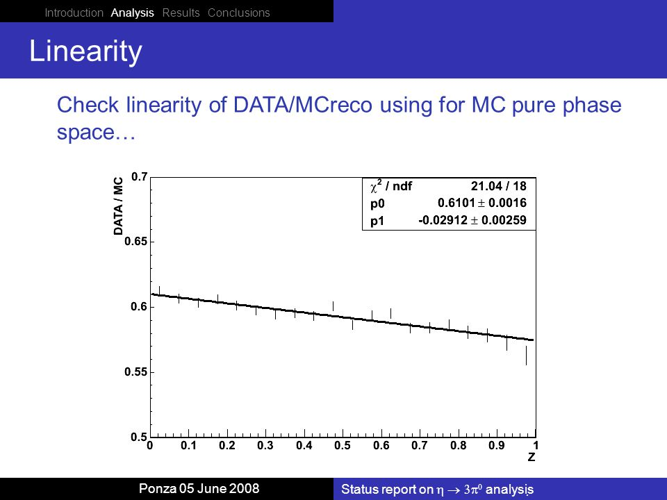 Status report on    analysis Ponza 05 June 2008 Linearity Check linearity of DATA/MCreco using for MC pure phase space… Introduction Analysis Results Conclusions