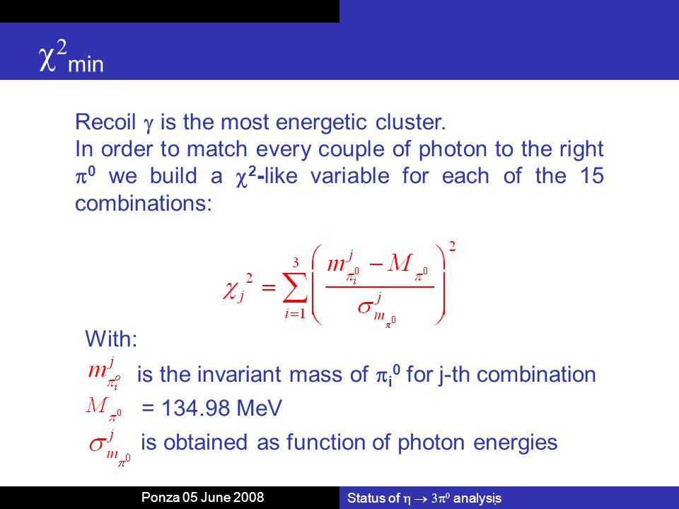 Status of    analysis   min Recoil  is the most energetic cluster.