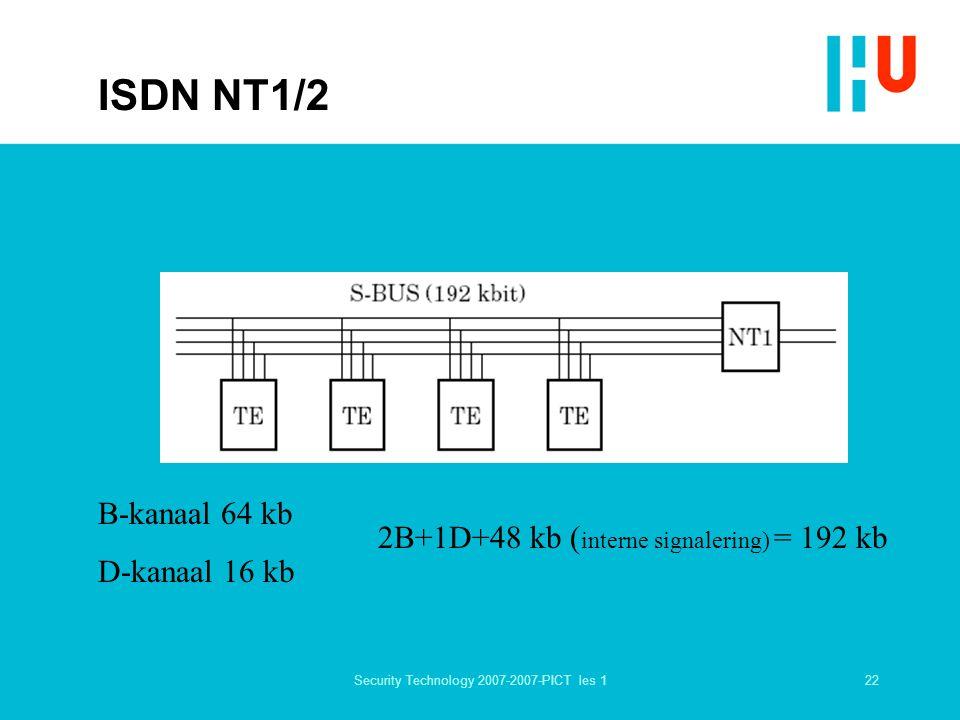 22Security Technology 2007-2007-PICT les 1 ISDN NT1/2 B-kanaal 64 kb D-kanaal 16 kb 2B+1D+48 kb ( interne signalering) = 192 kb