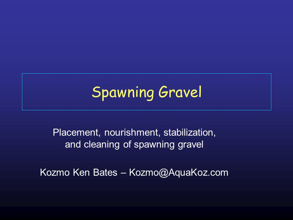 Spawning Gravel Placement, nourishment, stabilization, and cleaning of spawning gravel Kozmo Ken Bates – Kozmo@AquaKoz.com