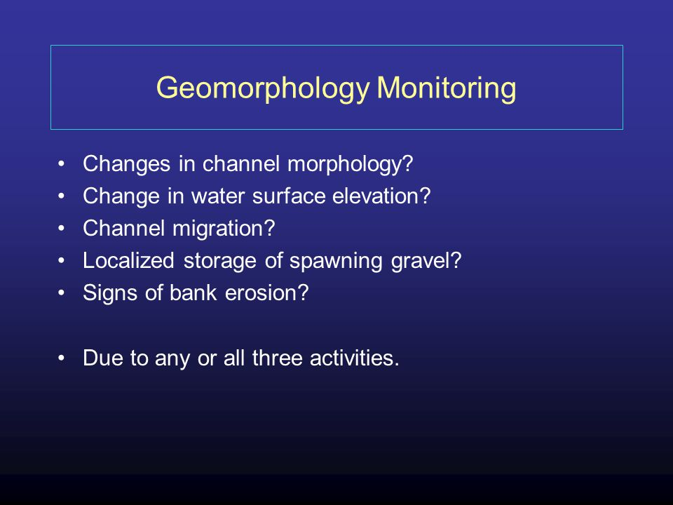 Geomorphology Monitoring Changes in channel morphology.