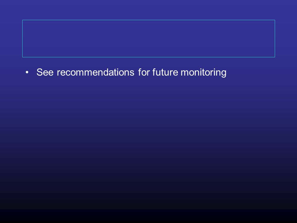 See recommendations for future monitoring