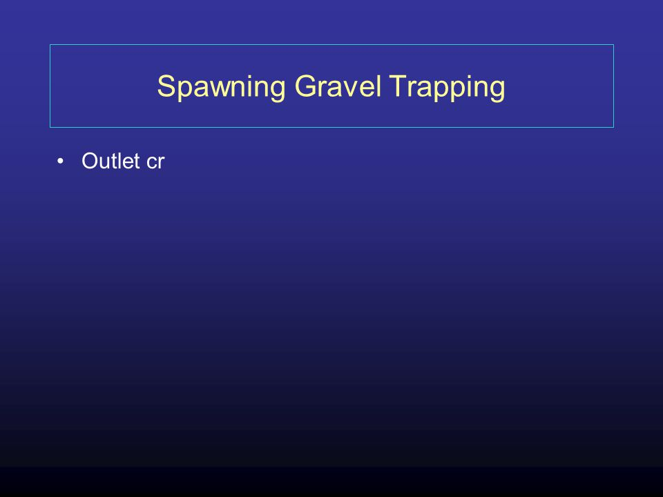 Spawning Gravel Trapping Outlet cr