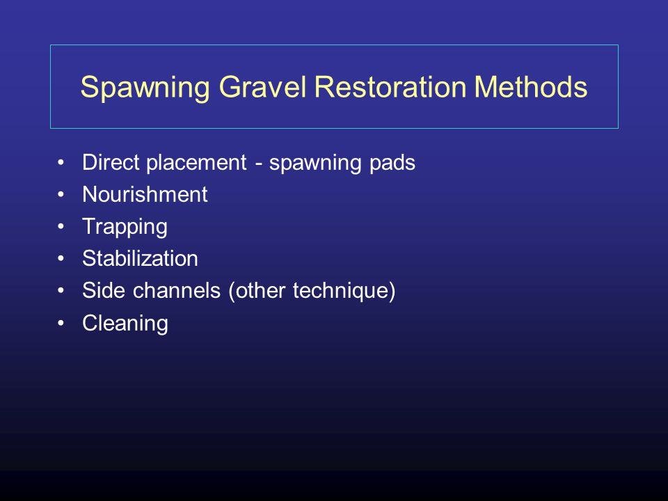 Spawning Gravel Restoration Methods Direct placement - spawning pads Nourishment Trapping Stabilization Side channels (other technique) Cleaning