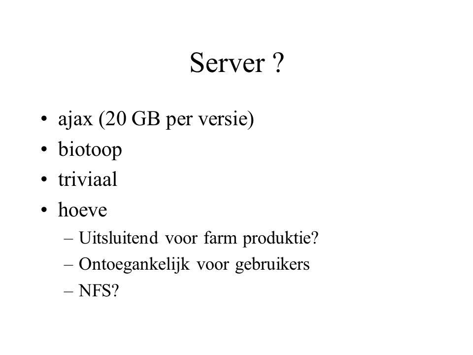 Server . ajax (20 GB per versie) biotoop triviaal hoeve –Uitsluitend voor farm produktie.