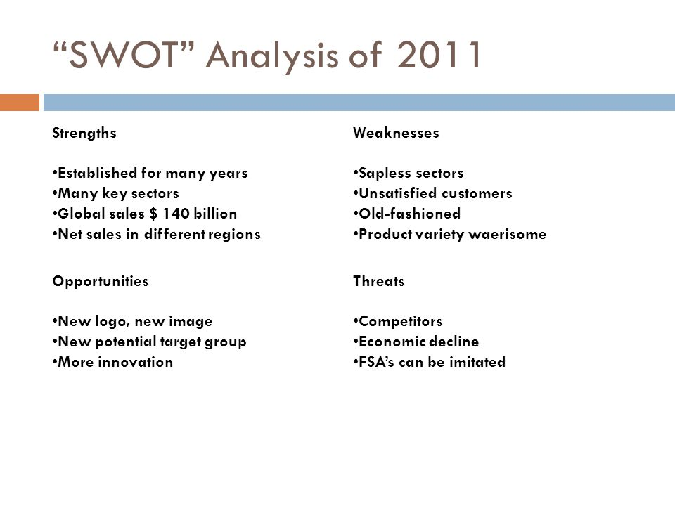 """""""SWOT"""" Analysis of 2011 Strengths Established for many years Many key sectors Global sales $ 140 billion Net sales in different regions Weaknesses Sap"""