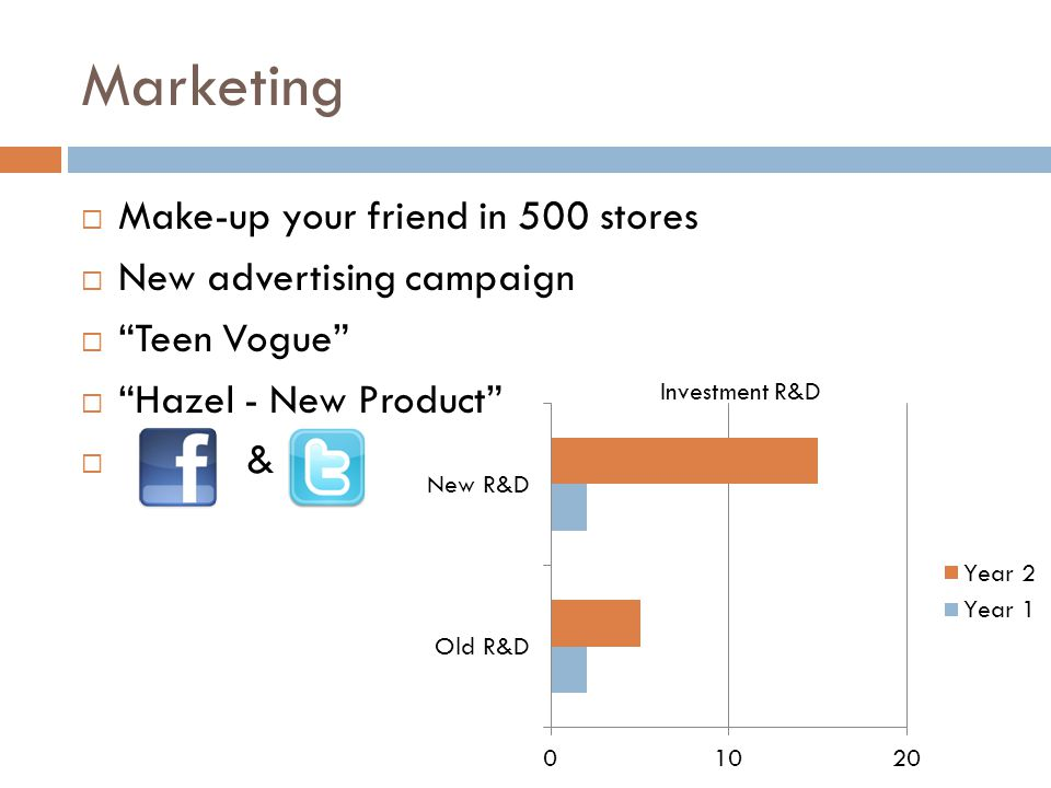 """Marketing  Make-up your friend in 500 stores  New advertising campaign  """"Teen Vogue""""  """"Hazel - New Product""""  & Investment R&D"""