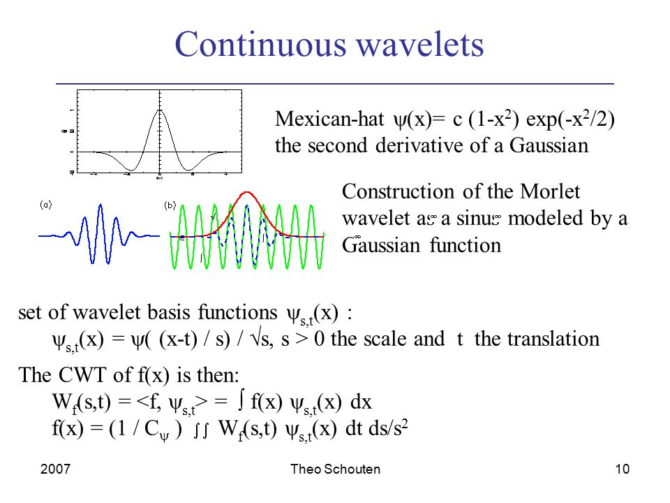 2007Theo Schouten10 Continuous wavelets Mexican-hat  (x)= c (1-x 2 ) exp(-x 2 /2) the second derivative of a Gaussian Construction of the Morlet wavelet as a sinus modeled by a Gaussian function set of wavelet basis functions  s,t (x) :  s,t (x) =  ( (x-t) / s) /  s, s > 0 the scale and t the translation The CWT of f(x) is then: W f (s,t) = =  f(x)  s,t (x) dx f(x) = (1 / C  )   W f (s,t)  s,t (x) dt ds/s 2