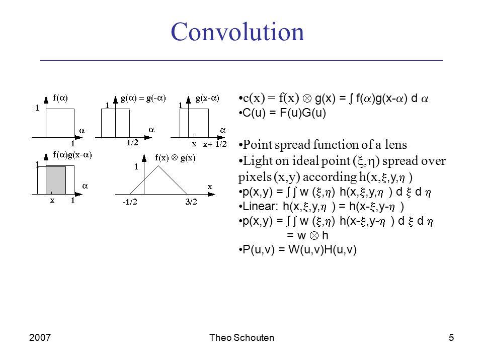 2007Theo Schouten6 Discrete Fourier Transformation In 2-D the DFT becomes: F[u,v] = 1/MN x=0  M-1 y=0  N-1 f[x,y] e -j2  (xu / M + yv / N) f[x,y] = u=0  M-1 v=0  N-1 F[u,v] e +j2  (xu / M + yv / N)