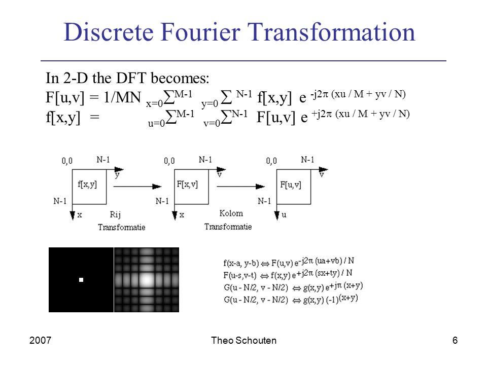 2007Theo Schouten7 Fast Fourier Transformation To calculate F[u] for u=0,1...N-1 it takes N*N multiplications and N*(N-1) summations of complex numbers (e...