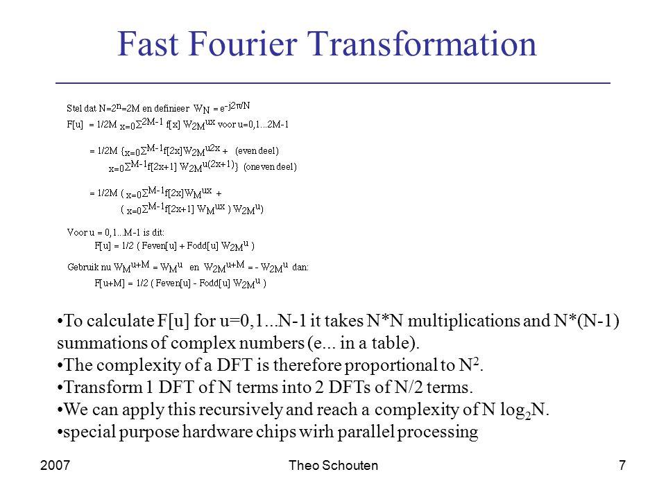 2007Theo Schouten8 Use in CT g  (x ) =  f(x ,y ) dy x = x cos  + y sin  y = -x sin  +y cos  FT( g  (x )) = F(u cos , u sin  ).