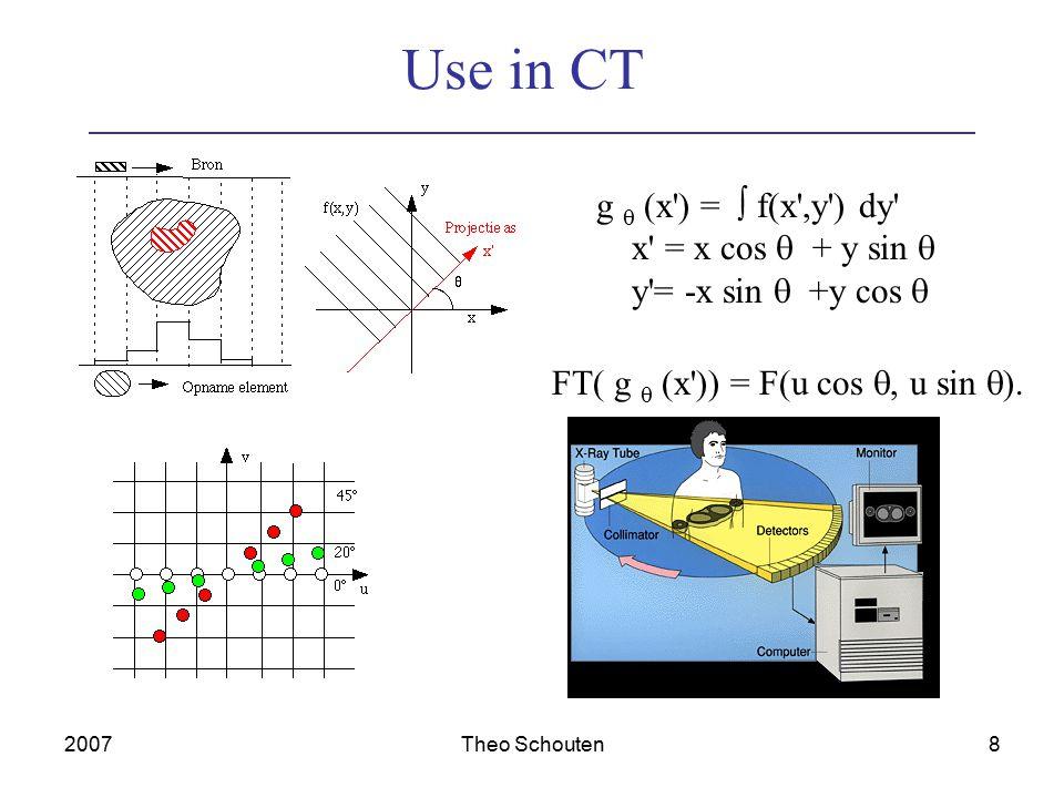 2007Theo Schouten9 Other transformations DFT example of whole class of transformations T(u) = x=0  N-1 f(x) g(x,u) with g the forward transformation kernel f(x) = u=0  N-1 T(u) h(x,u) with h the inverse transformation kernel Discrete Cosine: cos( (2x+1)u  / 2N), JPEG, MPEG T(u,v) = x=0  N-1 y=0  N-1 f(x,y) g(x,y,u,v) f(x,y) = u=0  N-1 v=0  N-1 T(u,v) h(x,y,u,v) g(x,y,u,v) = g1(x,u) g2(y,v) : separable: 2D = N 1D
