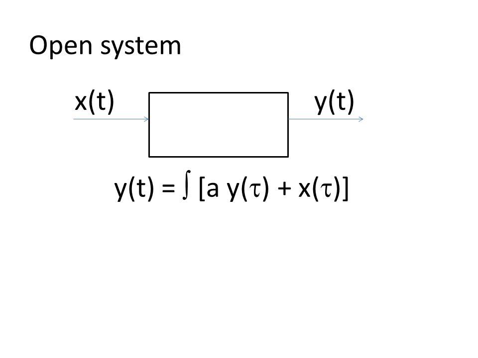 Open system y(t) =  [a y(  ) + x(  )] x(t) y(t)