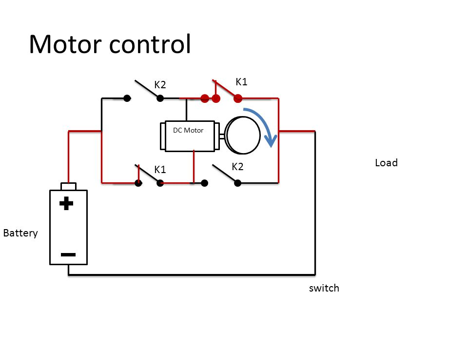 Motor control switch Load K2 K1 K2 DC Motor Battery