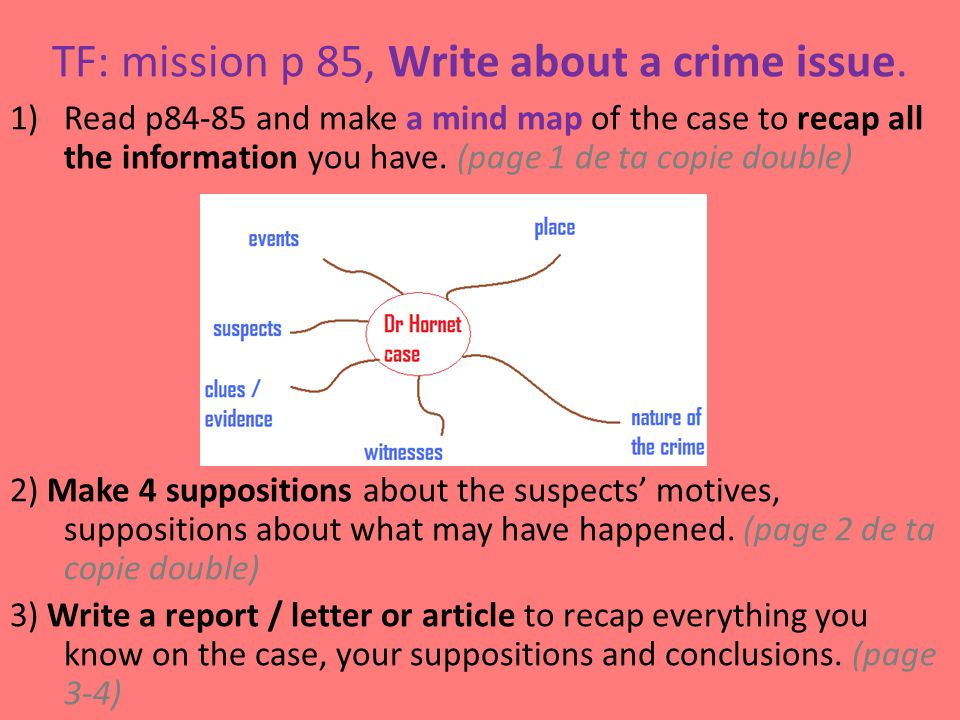 TF: mission p 85, Write about a crime issue.