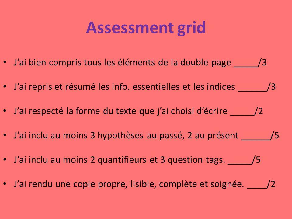 Assessment grid J'ai bien compris tous les éléments de la double page _____/3 J'ai repris et résumé les info. essentielles et les indices ______/3 J'a
