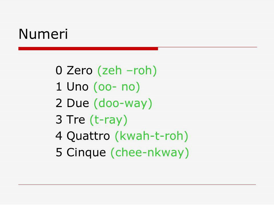 0 Zero (zeh –roh) 1 Uno (oo- no) 2 Due (doo-way) 3 Tre (t-ray) 4 Quattro (kwah-t-roh) 5 Cinque (chee-nkway) Numeri
