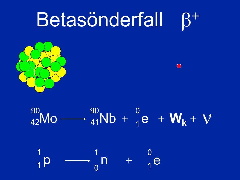 Mo 90 42 Nb 90 41 e 0 1 + Betasönderfall  + + WkWk + p 1 1 1 n 0 e 0 1 +