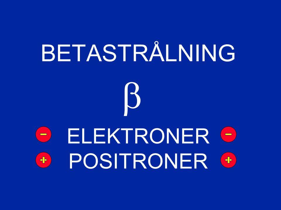 BETASTRÅLNING  ELEKTRONER POSITRONER