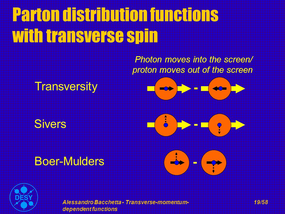 Alessandro Bacchetta - Transverse-momentum- dependent functions 19/58 Parton distribution functions with transverse spin - Sivers - Boer-Mulders - Transversity Photon moves into the screen/ proton moves out of the screen