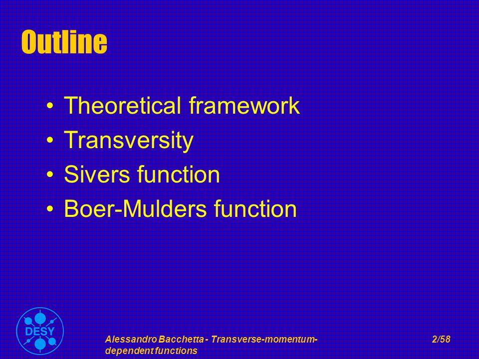 Alessandro Bacchetta - Transverse-momentum- dependent functions 2/58 Outline Theoretical framework Transversity Sivers function Boer-Mulders function