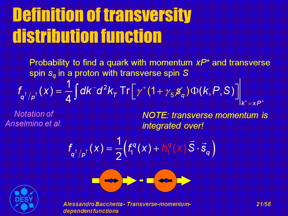 Alessandro Bacchetta - Transverse-momentum- dependent functions 21/58 Definition of transversity distribution function Probability to find a quark with momentum xP + and transverse spin s q in a proton with transverse spin S - NOTE: transverse momentum is integrated over.