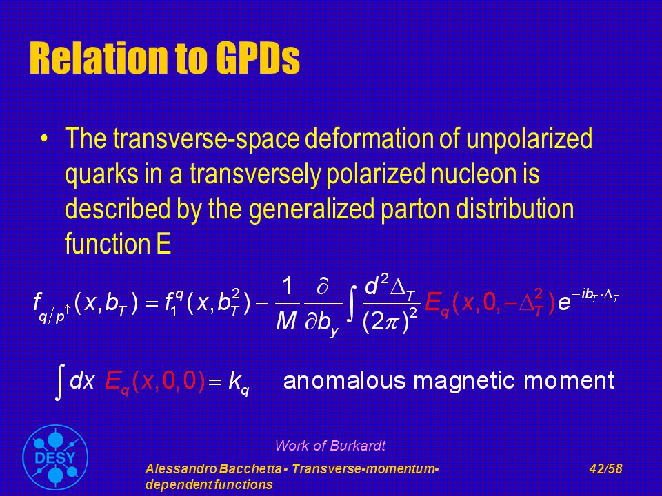 Alessandro Bacchetta - Transverse-momentum- dependent functions 42/58 Relation to GPDs The transverse-space deformation of unpolarized quarks in a transversely polarized nucleon is described by the generalized parton distribution function E Work of Burkardt