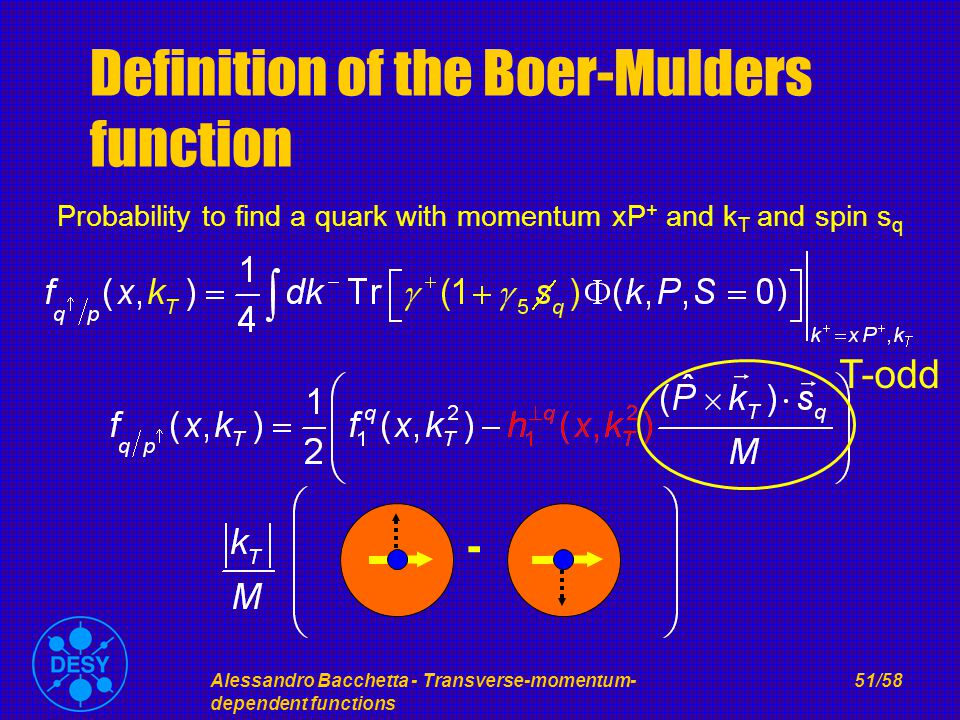 Alessandro Bacchetta - Transverse-momentum- dependent functions 51/58 Definition of the Boer-Mulders function Probability to find a quark with momentum xP + and k T and spin s q T-odd -