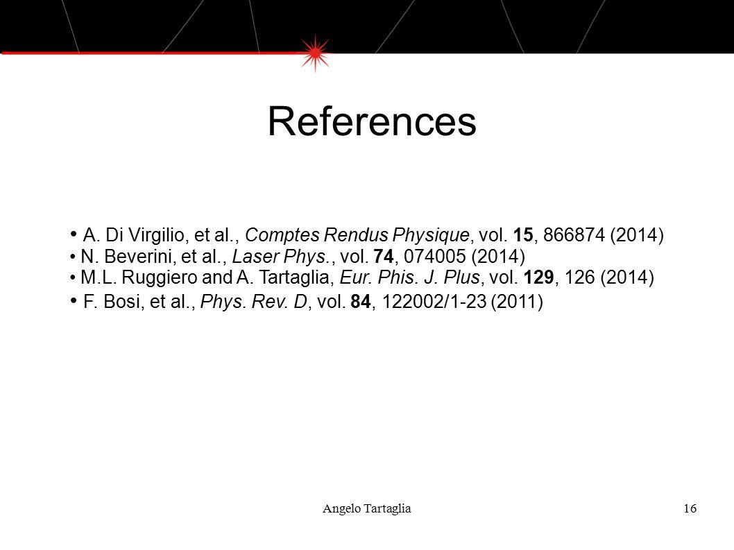 References Angelo Tartaglia16 A. Di Virgilio, et al., Comptes Rendus Physique, vol.