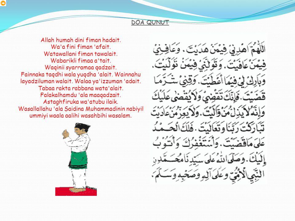 SALAM KE KIRI Assalamualaikum warahmatullah Ertinya: Sejahtera dan rahmat untukmu semoga dirahmati Allah. Berpaling ke arah kiri sambil memberi salam