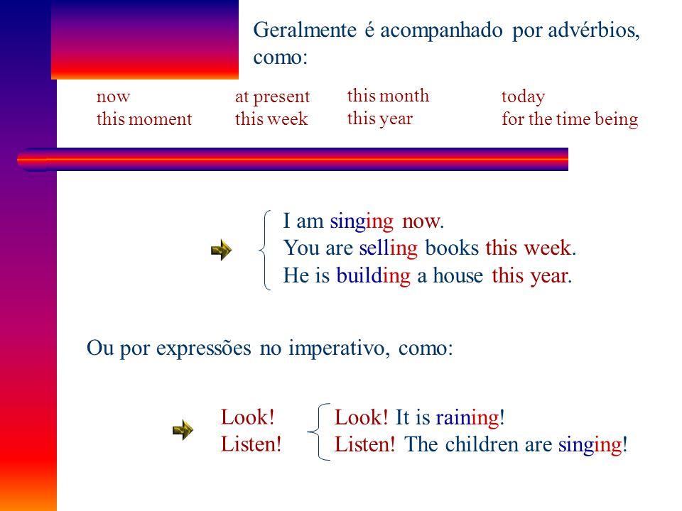 """Descreve uma ação que está ocorrendo no momento em que está sendo narrada. Estrutura principal Verbo """"to be"""" + Verbo principal + ing I am singing. You"""