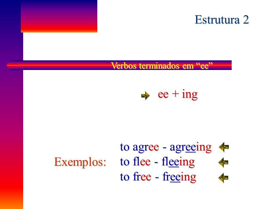 """Estrutura 1 Verbos terminados em """"e"""" - e + ing Exemplos: to come - coming to write - writing to close - closing Mas to be - being X X X"""