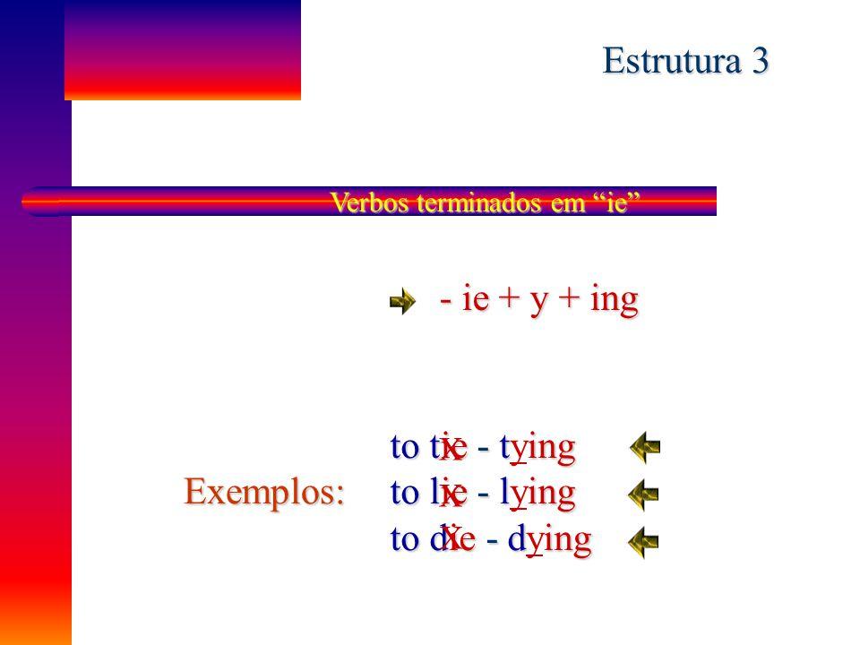 "Verbos terminados em ""ee"" ee + ing to agree - agreeing to flee - fleeing to free - freeing Exemplos: Estrutura 2"