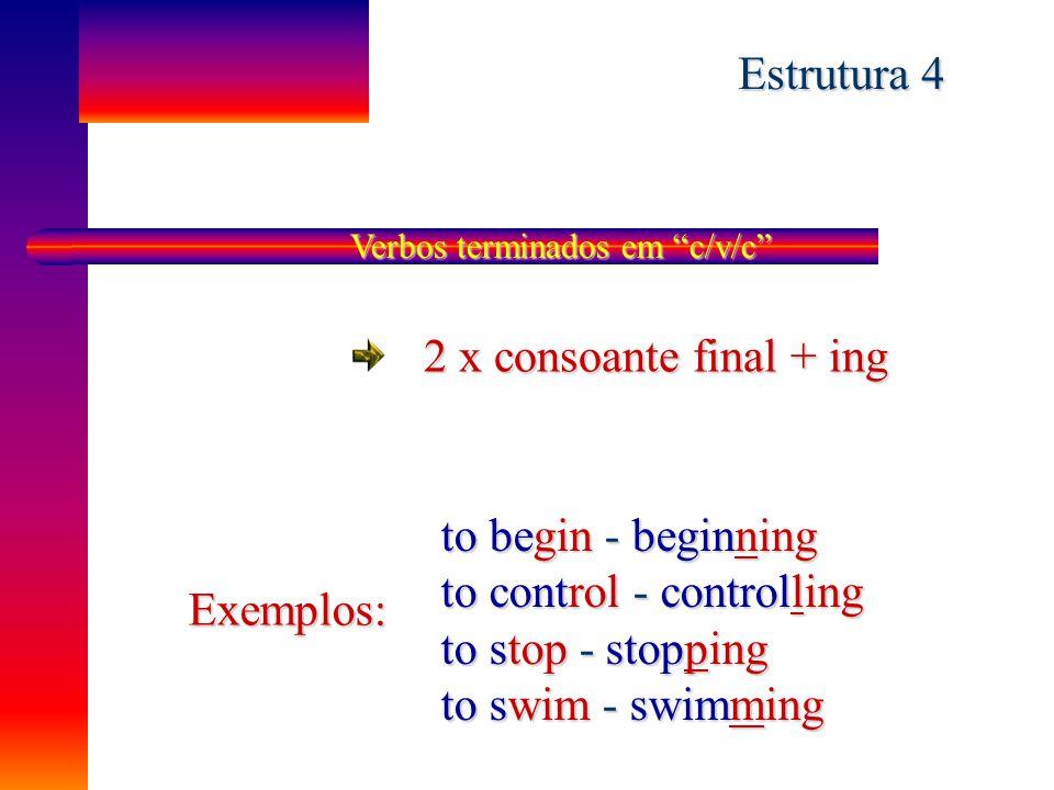 """Verbos terminados em """"ie"""" - ie + y + ing Exemplos: to tie - ting to tie - tying to lie - ling to lie - lying to die - ding to die - dying Estrutura 3"""