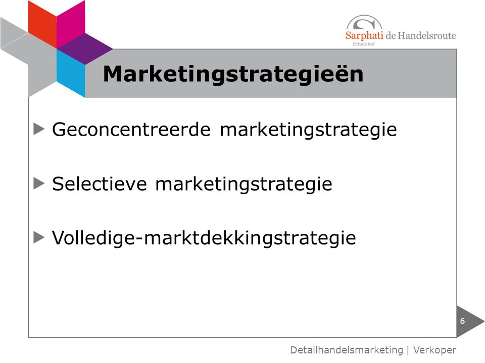 Geconcentreerde marketingstrategie Selectieve marketingstrategie Volledige-marktdekkingstrategie 6 Detailhandelsmarketing | Verkoper Marketingstrategieën