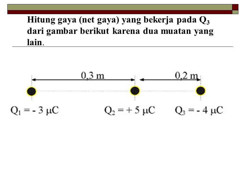 Hitung gaya (net gaya) yang bekerja pada Q 3 dari gambar berikut karena dua muatan yang lain.